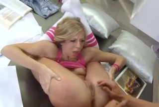 Slutty Blonde Schoolgirl Lifts Her Legs, Starts Rubing Her Ass And Moaning While Experiencing Orgasms