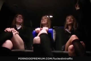 Horny Cab Driver Saw That His Guests' Horny Wives Were Getting Ready To Come Out And Cum