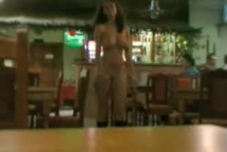 Sensual Brunette Waitress In Erotic, Black Stockings Likes To Suck A Horny Client's Hard Cock