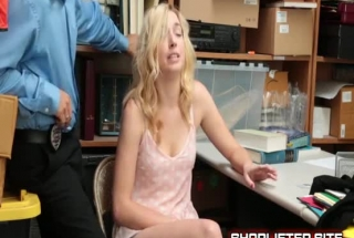 Hot Blonde Shoplifter Gave A Nice Handjob To Her Client, Until They Both Came