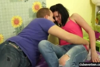 Naughty Teen Brunette, Marlee Morgan Is Eagerly Sucking Her New, Younger Partner's Dick And Riding His Dick