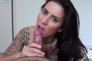 Tattooed Chick With Deep Throat Is Sucking A Rock Hard Dick Balls Deep And Expecting Cumshots